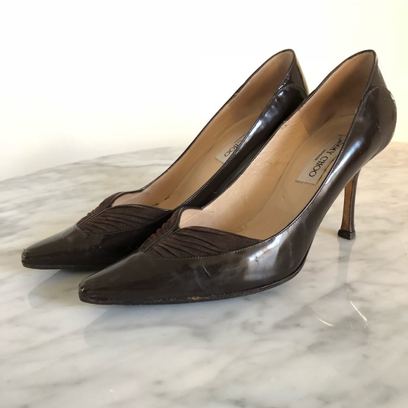 6bc1a542f9 Jimmy Choo Shoes - JIMMY CHOO VINTAGE BROWN SUEDE PUMPS SIZE 8.5